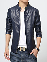 Men's Long Sleeve Jacket,PU Casual Solid
