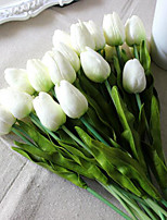 Umiwe 8pcs Artificial Flowers Tulip with Leaves Flower Bouquets Home Wedding Decoration