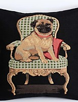 Linen Pillow Cover/Case ,  Woven Traditional/Classic Dog Chair Lounge Feature