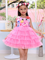 A-line Short/Mini Flower Girl Dress-Cotton / Satin / Tulle Sleeveless