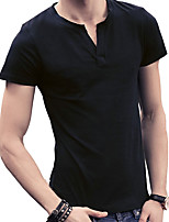 2016 new summer T-shirt male V collar half sleeve Mens leisure shirt slim pure Korean male clothing tide