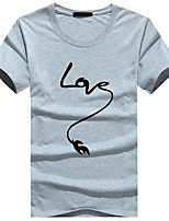 Men's Short Sleeve T-Shirt,Cotton / Acrylic Casual / Sport Print 916120