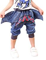 Boy's Cotton Summer Shark Shape Letter Cowboy Middle Pants