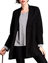 Women's Solid Beige / Black Coat,Plus Size Long Sleeve Polyester