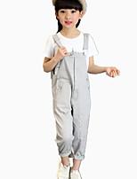 Girl's Round Collar Wild Cotton Cartoon Print Clothing Sets(T-shirt & Bid Overall)