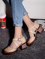 Zapatos de mujer-Tacón Robusto-Plataforma / Punta Redonda-Tacones-Exterior / Vestido / Casual-Semicuero-Negro / Gris / Almendra