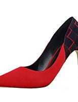 Calçados Femininos-Saltos-Saltos-Salto Agulha-Preto / Azul / Vermelho / Laranja-Flanelado-Casual