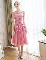 Cocktail Party Dress-Blushing Pink A-line Scoop Ankle-length Lace / Satin