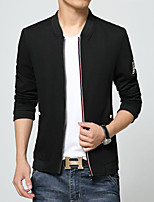Men's Long Sleeve Casual Jacket,Cotton / Polyester Solid Blue