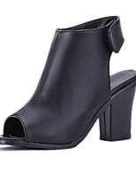 Women's Shoes Leatherette Chunky Heel Heels / Peep Toe Sandals Wedding / Party & Evening / Dress / Casual Black