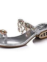 Scarpe Donna-Sandali-Formale / Casual-Aperta-Quadrato-Finta pelle-Nero / Argento / Dorato