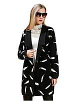 Women's Print Black Coat,Simple Long Sleeve Nylon