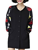 Women's Print Black Coat,Plus Size Long Sleeve Polyester