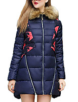 Women's Patchwork Blue Padded Coat,Simple Hooded Long Sleeve