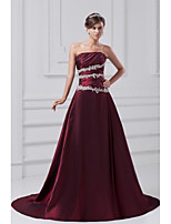 Formal Evening Dress-Burgundy A-line Strapless Court Train Taffeta