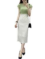 Women's Polka Dot Blue / White / Black Skirts,Vintage / Simple Midi
