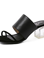 Women's Shoes Leatherette Chunky Heel Comfort Sandals Outdoor Black / Silver