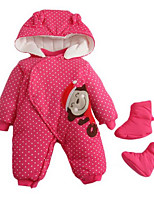 Girl's Red Overall & Jumpsuit,Dot / Cartoon Cotton Winter