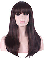 Women Long Straight Synthetic Hair Wig Dark Brown