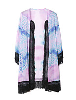 Women's Casual/Daily Simple Jackets,Print Round Neck ¾ Sleeve Pink Polyester