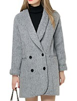 Women's Solid Gray Pea Coats,Street chic Long Sleeve Polyester