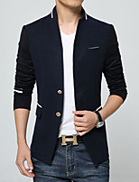 Men's Long Sleeve Casual Jacket,Cotton / Polyester Solid Blue / Red