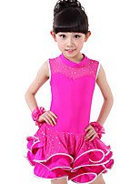 Latin Dance Dresses Children's Performance Spandex / Lace Draped / Sequins 1 Piece Black / Fuchsia / Red / Yellow
