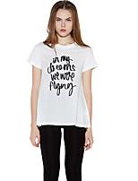 Haoduoyi Women's Round Neck Short Sleeve T Shirt White-15113A361