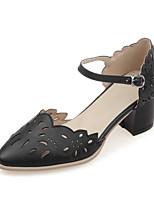 Calçados Femininos-Saltos-Saltos-Salto Grosso-Preto / Rosa / Branco-Courino-Casamento / Social / Casual / Festas & Noite