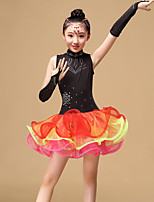 Latin Dance Dresses Children's Performance Tulle Draped 3 Pieces Black / Green / Orange Latin Dance Gloves / Dress