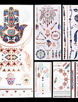 6pcs Dreamcatcher Cinnamon Silver Gold Evil Eye Totem Colorful Temporary Flash Metallic Tattoos Sticker Waterproof
