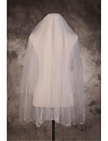 Wedding Veil Two-tier Elbow Veils Cut Edge / Pencil Edge Tulle Beige