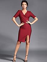 Baoyan® Women's V Neck Short Sleeve Above Knee Dress-13192