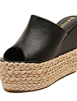 Chaussures Femme-Extérieure / Décontracté-Noir / Blanc-Plateforme-Creepers-Sandales / Chaussons-Similicuir
