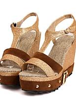 Women's Shoes Leatherette Summer Wedges / Heels Outdoor / Casual Wedge Heel Buckle Gray / Gold