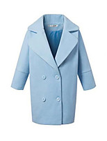 Women's Solid Blue Coat,Simple ¾ Sleeve Nylon