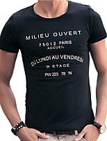 Camiseta De los hombres Casual Un Color-Algodón-Manga Corta