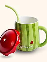créatif paille style mignon de pastèque tasse en céramique tasse