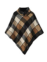 Women's Plaid Brown Cloak/Capes,Simple Long Sleeve Polyester