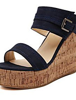 Women's Shoes Denim Wedge Heel Wedges / Open Toe Sandals Outdoor / Casual Black / Blue