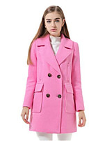 Women's Solid Blue / Pink Coat,Simple Long Sleeve Nylon
