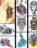 8PCS Waterproof Women Men Body Art Indian Elephant God Peacock Owl Animals Jewelry Pattern Design