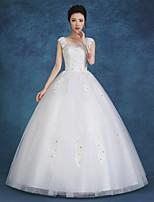 볼 드레스 웨딩 드레스 바닥 길이 스쿱 새틴 / 튤 와 레이스