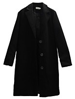 Women's Casual/Daily Street chic Pea Coats,Solid Long Sleeve Winter Black Polyester