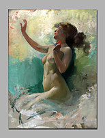Nude Lady Siting On Cloud Grey Color Decorative Painting Canvas With Frame