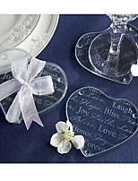 Good Wishes Heart Glass Coaster (2pcs/box)