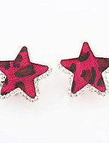 Mix Colors Women Lovers Unisex Fashion Jewelry Leopard Grain Star Shaped Alloy Rhinestone Stud Earrings