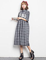 Women's Simple Plaid Shirt Dress,Shirt Collar Midi Polyester