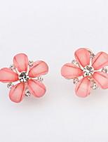 Super Flash White Rhinestone Cute Pink Flower Earrings for Women Weeding Jewelry