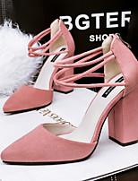 Chaussures Femme-Décontracté-Noir / Vert / Rose / Gris / Bordeaux-Gros Talon-Talons / Bout Pointu / Bout Fermé-Talons-Similicuir